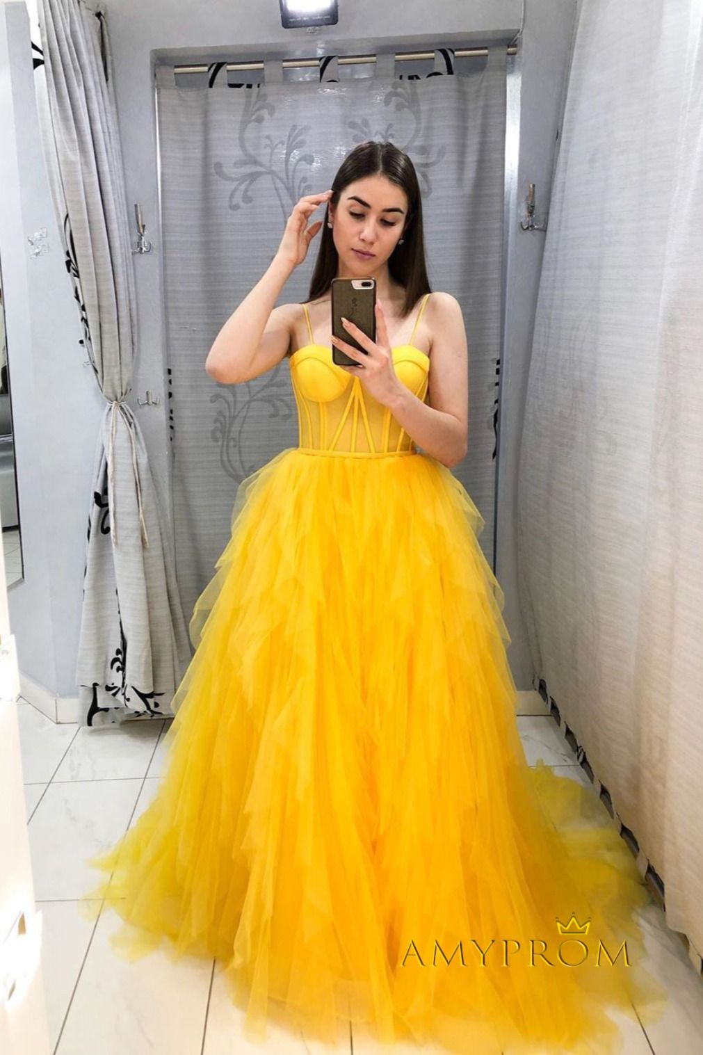 Yellow Tulle Plus Size Prom Dress A Line Sleeveless Prom Gown Wed023 In 2020 Prom Dresses Yellow Yellow Formal Dress Evening Dresses Prom [ 1517 x 1011 Pixel ]