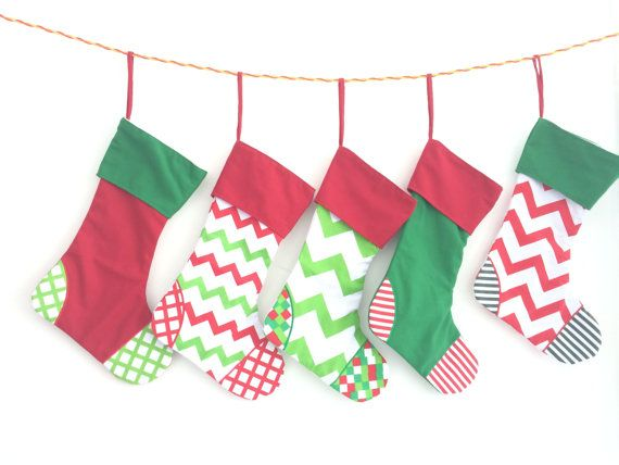 PERSONALIZED Christmas Stockings with by PERSONALIZED Christmas Stockings with Monogram in Chevron Dots Stripes - Christmas in July - monogrammed stocking - name on stocking - santaMyPryncessDesigns on Etsy