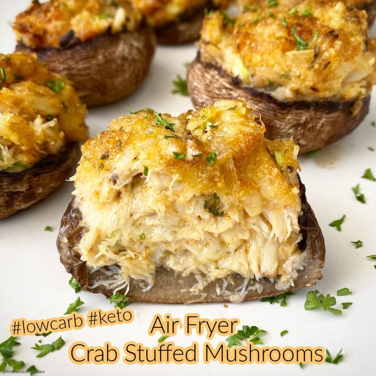 Air Fryer Crab Stuffed Mushrooms (LowCarb, Keto) Recipe