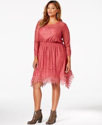 American Rag Plus Size Handkerchief Hem Lace Dress Only At Macys