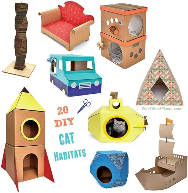 DIY Cat Castles: 20 Cardboard Habitats You Can Build Yourself | Woof Woof Mama #giftsforcats