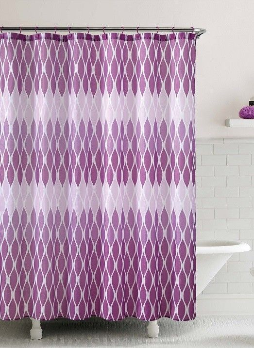 Jansen Purple Embossed Microfiber Shower Curtain- 72