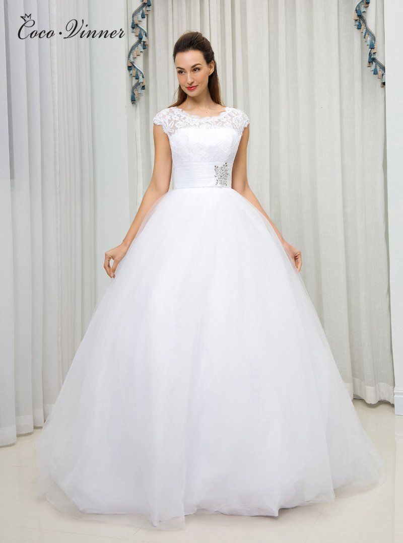 C V American And European Simple Brief Ball Gown Wedding Dress 2018 Short Sleeve Plus Size Custom Wedding Dress Fabrics Wedding Dresses Ball Gown Wedding Dress