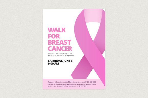 Breast Cancer Ribbon Flyer Template Flyer template, Vector file