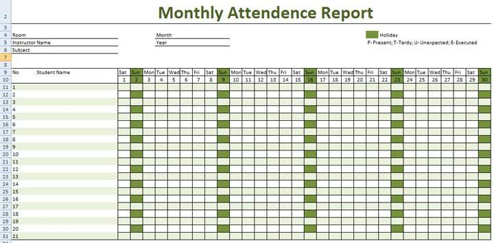 attendance sheet with time in excel free download