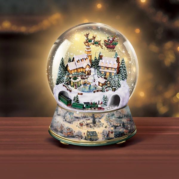 Musical Snow Globes With Light | Thomas Kinkade Snow Globes - Animated Village Christmas at Ocean ...