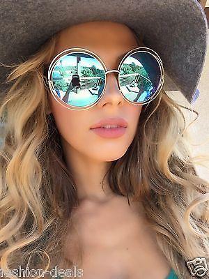 Retro Vintage Huge Oversized Duble Wire Round Frame ROXANNE Women Sunglasses