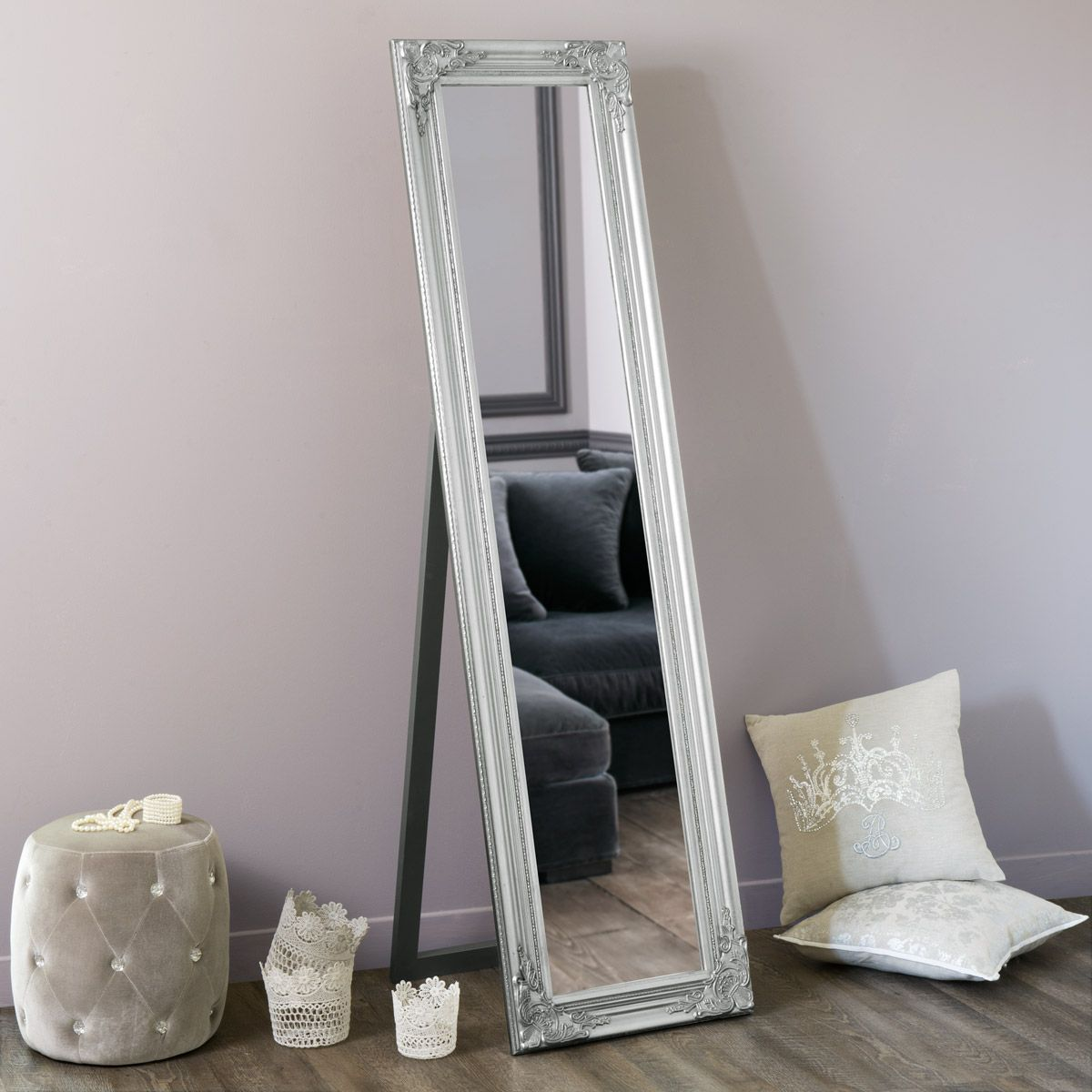 miroir psych argent h 164 cm wishlist house mirror bedroom et full length mirror stand. Black Bedroom Furniture Sets. Home Design Ideas