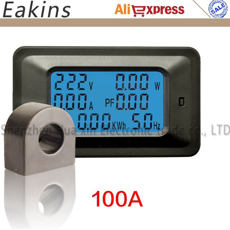 6 In1 Multifunction Power Monitor High Precision With Backlight For Voltage Power Current Power Factor Frequency Power 100a Max Multimeter Power Energy Digital