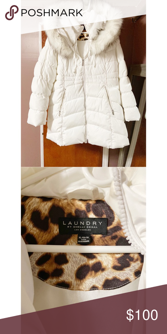 White Laundry Winter Coat With Fur Hood With Images Fur Hood