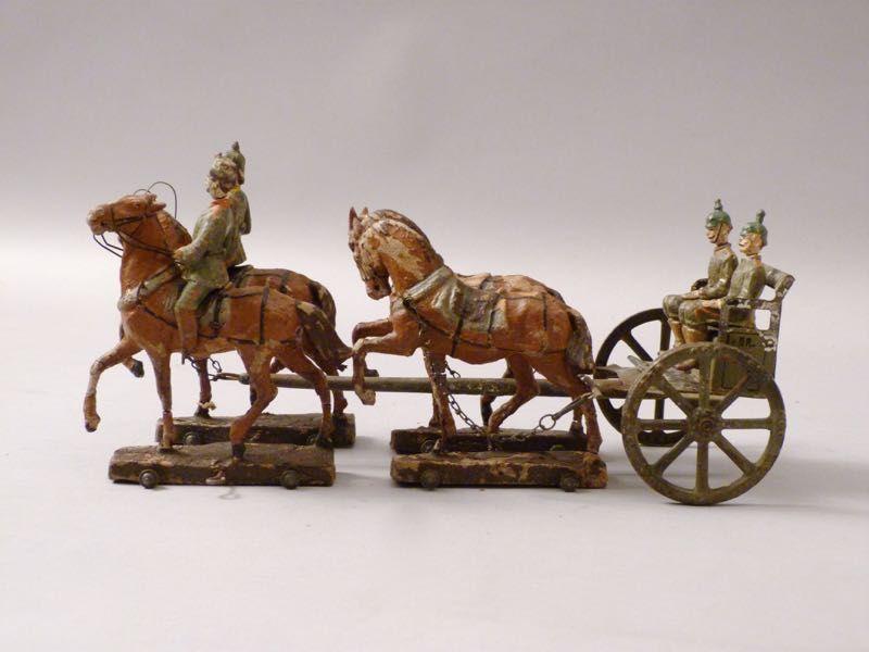 LINEOL PFERDEGESPANN Kutsche mit Soldaten WK1