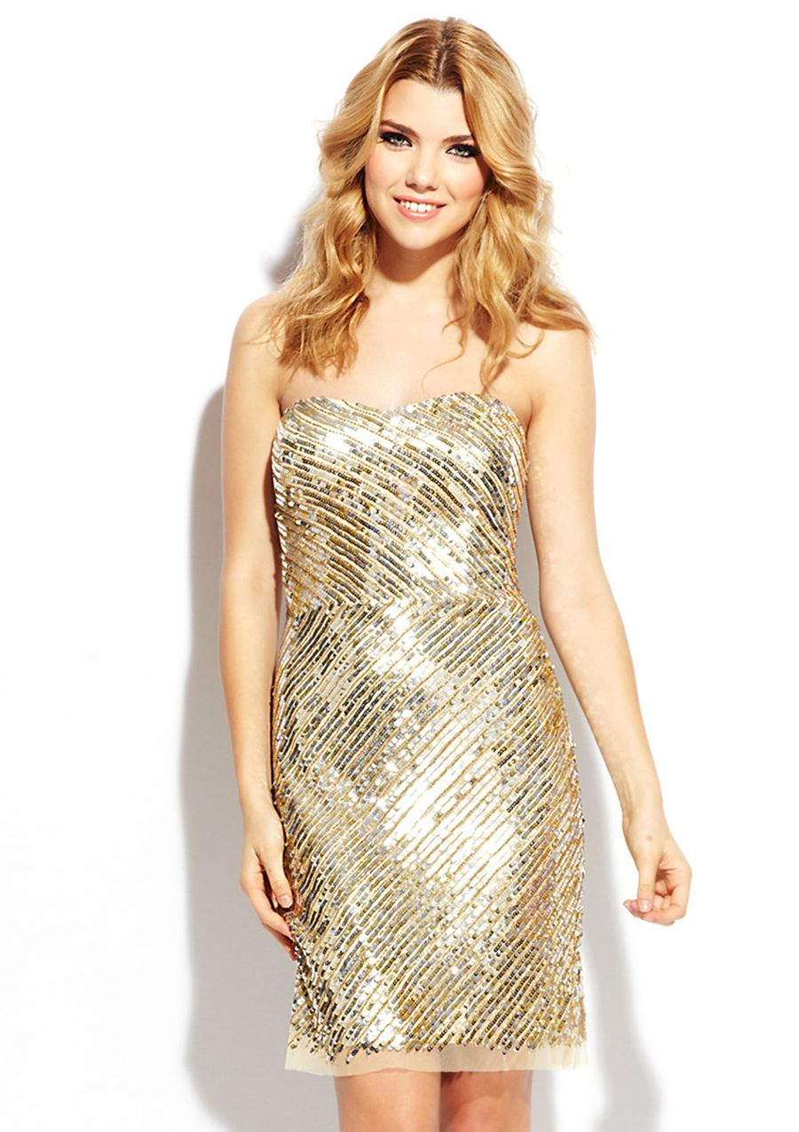 Gold strapless sequined cocktail dress from adrianna papell my