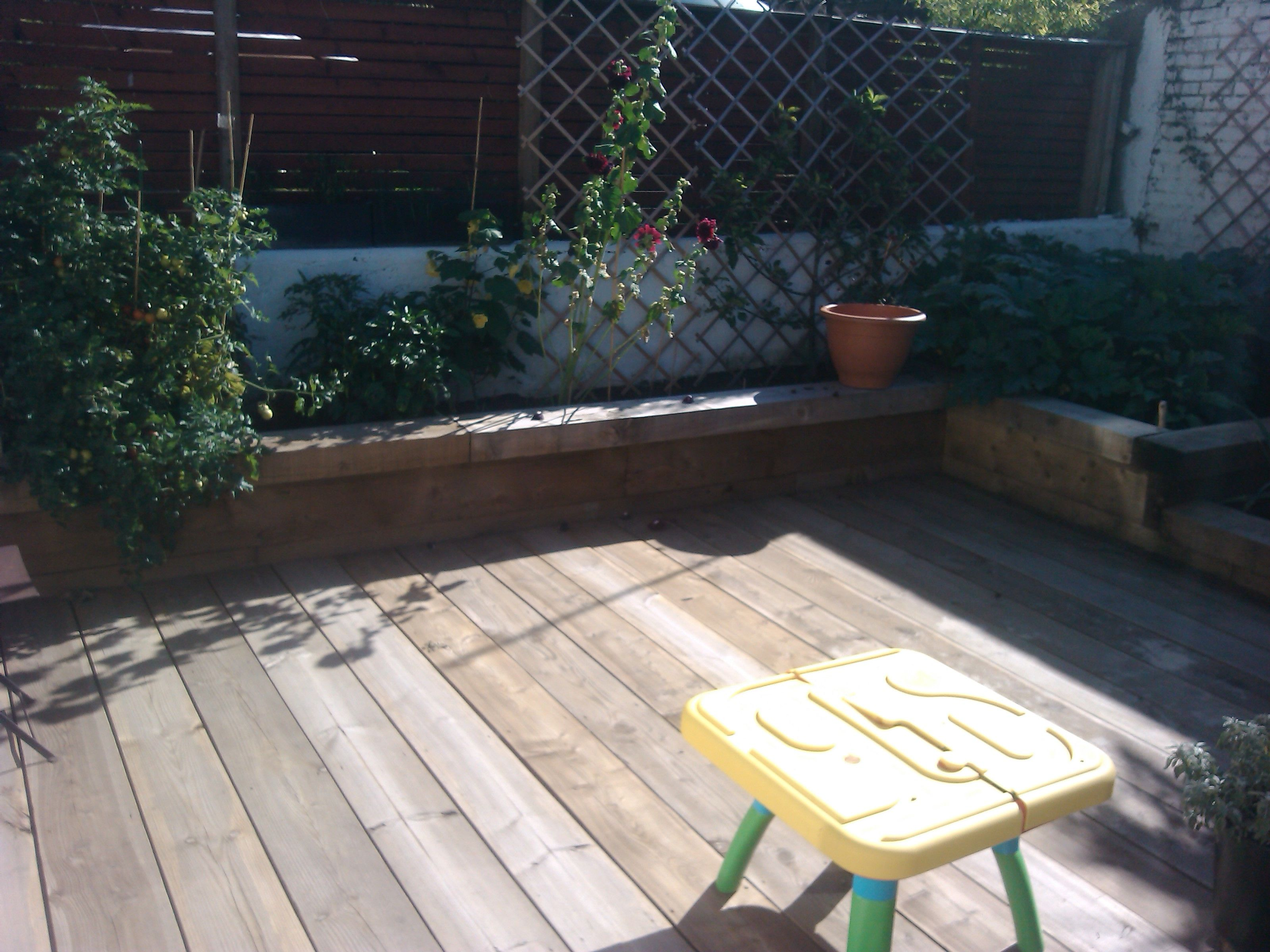 Decking Using Pallets Scaffold Board Decking In Our Garden Deck Ideas Pinterest