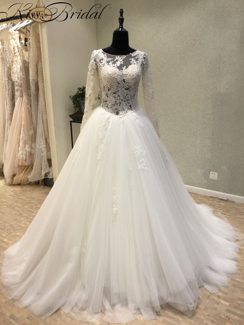 Where to find long sleeve wedding dresses  Find More Wedding Dresses Information about Gorgeous Lace Long