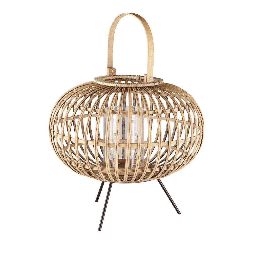 Lanterne en osier tressé et verre | Maison du monde lanterne ...