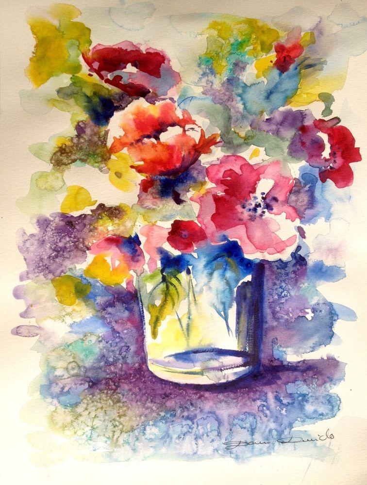 Aquarelle Originale Dam Domido Bouquet De Fleurs Rouges Flower