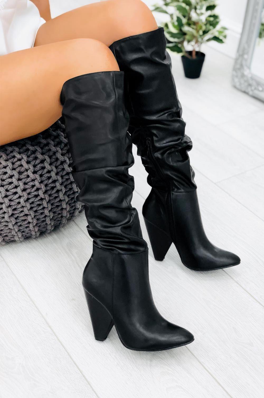 stivali alti in pelle nero tacco 12 grosso   Stivali ...