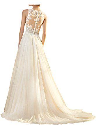 Promgirl House Damen Glamour Spitze V-Ausschnitt A-Linie Garten Brautkleider  Hochzeitskleider Lang Hochzeit 3a96610fa5