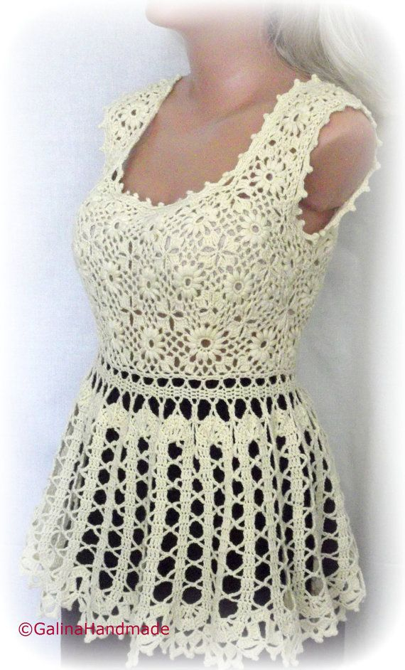 Crochet Summer Top Tunic Yellow by GalinaHandmade on Etsy, $80.00