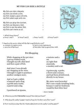 Quick Poetry Comprehension Poetry Comprehension Comprehension Poetry