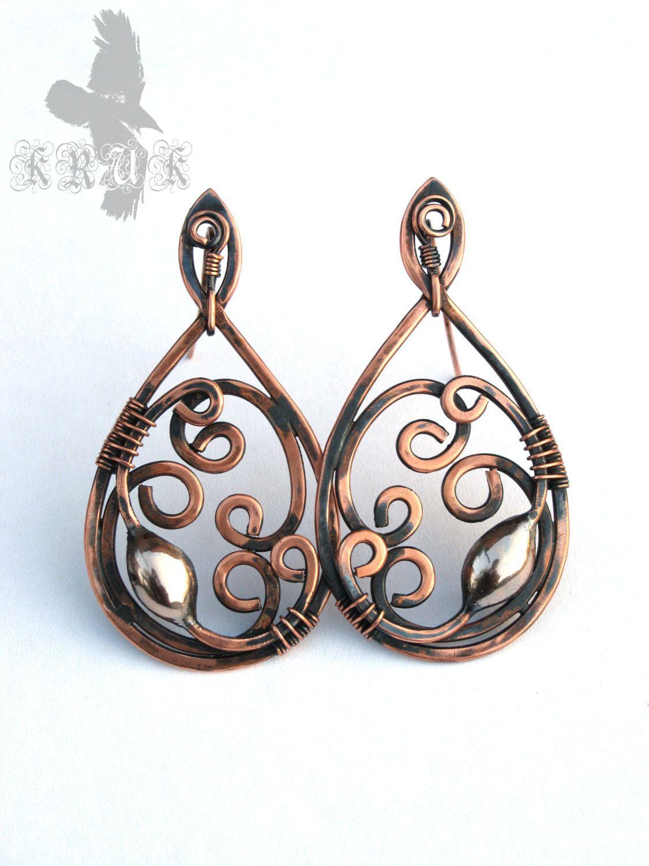 Wire wrap earrings Copper earrings Boho copper earrings Handmade ...