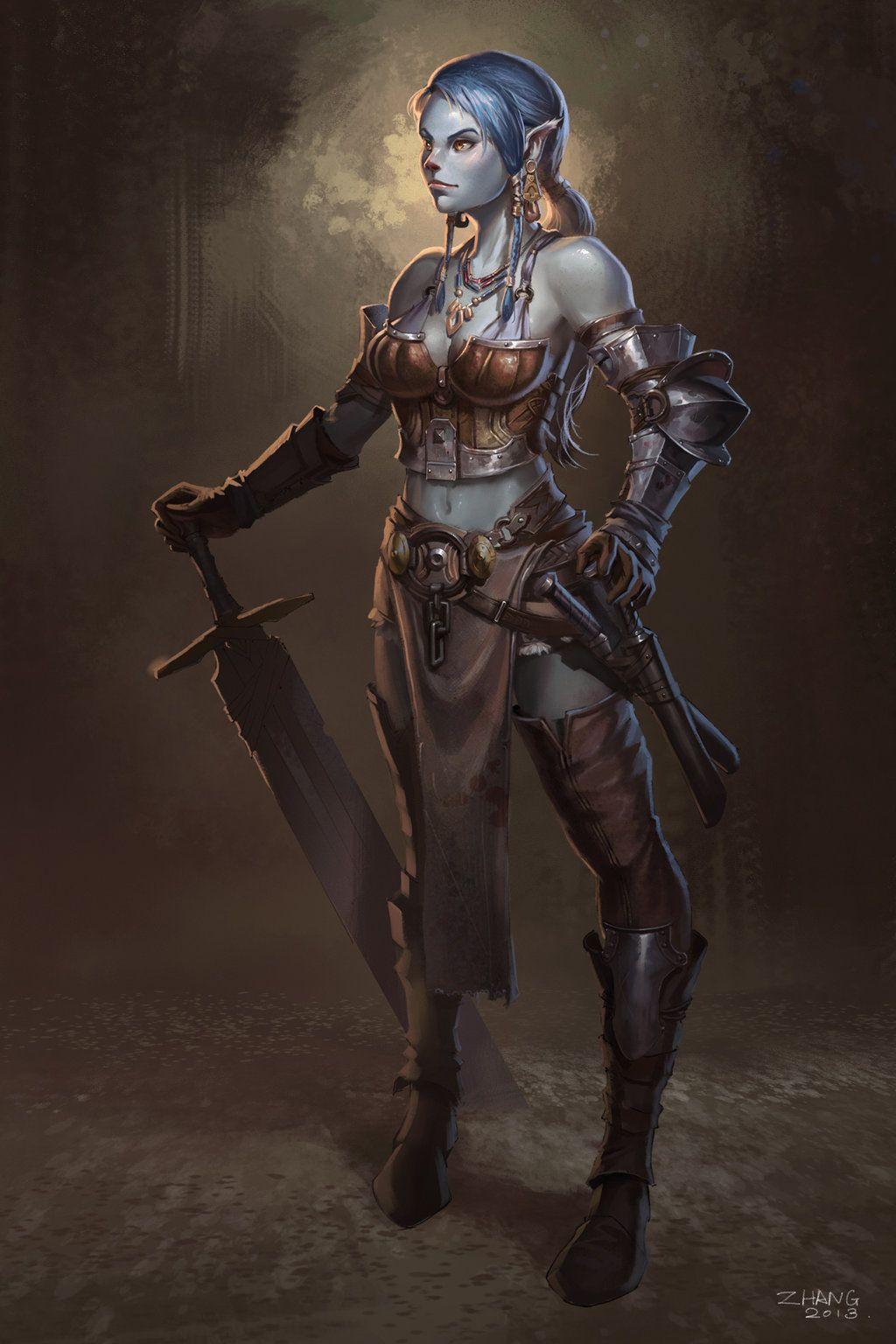 Female Fighter Mohawk Art Fantasy