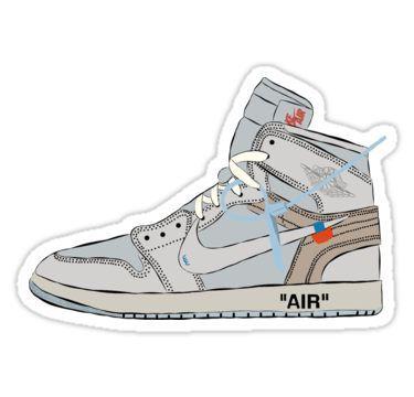 Off White Jordan 1 Sticker In 2020 White Jordans Sneaker Art