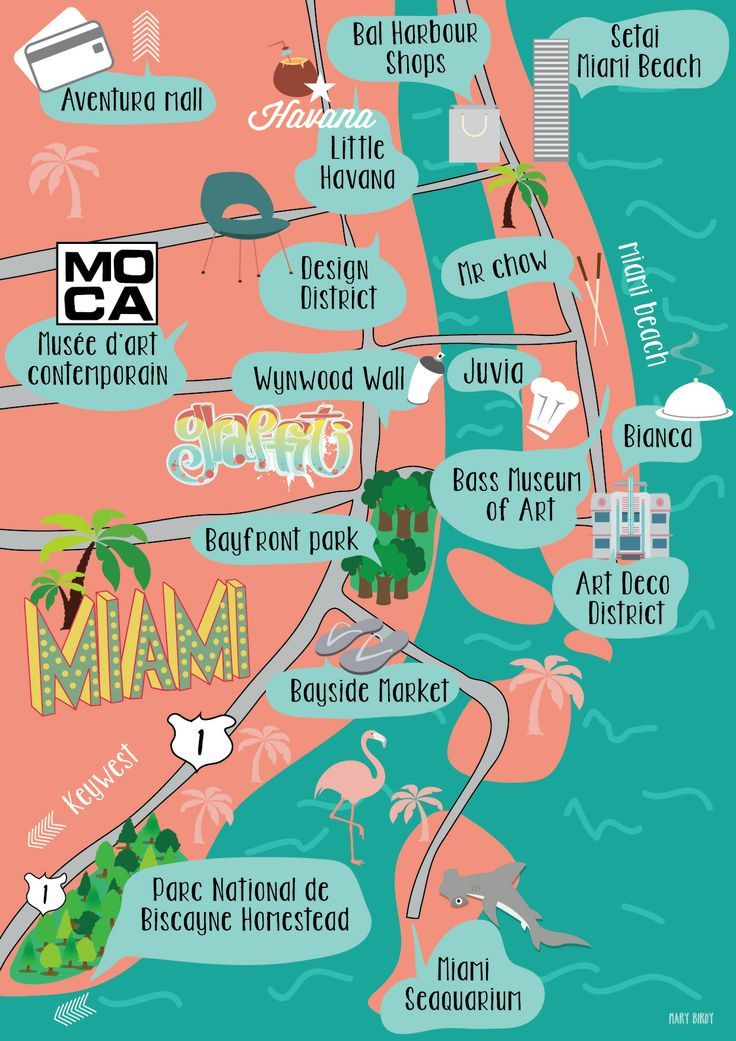 Map Of Florida Keys And Miami.Carte Miami Par Mary Birdy Illustration Map Miami By Mary Birdy