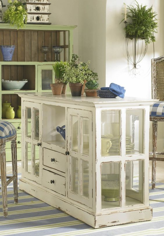 Pleasant Painted Wood And Glass Kitchen Island Distressed Furniture Machost Co Dining Chair Design Ideas Machostcouk