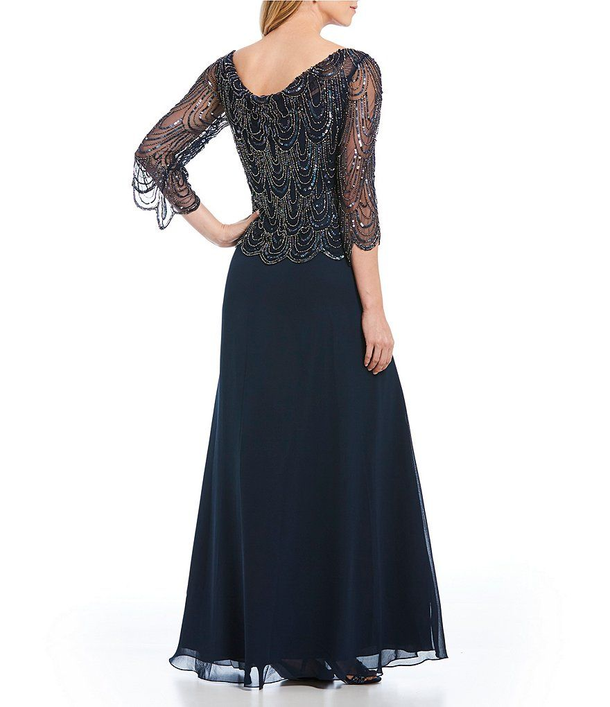 Cowl Neck Beaded Bodice Chiffon Gown