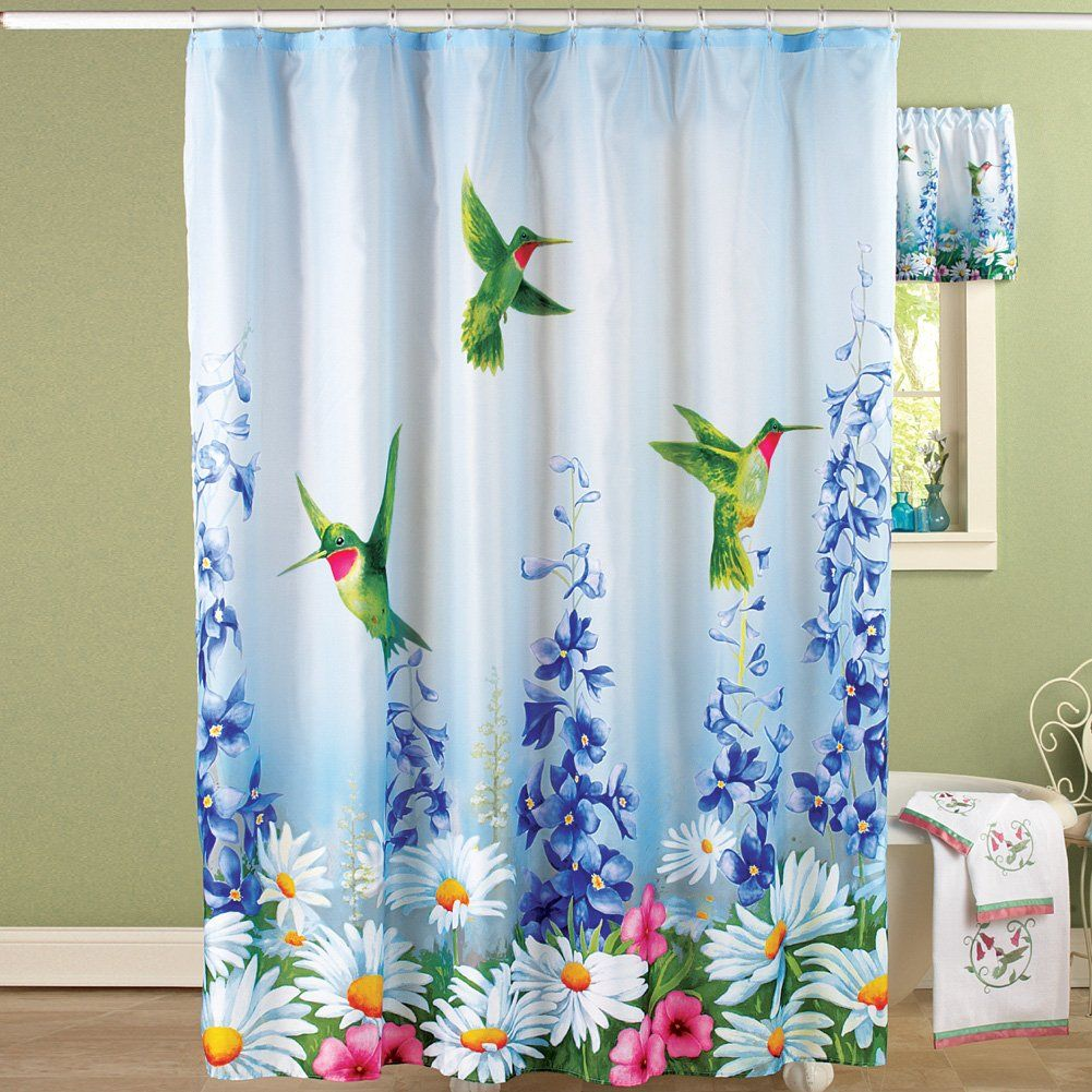 Collections Etc Blue Garden Bliss Hummingbird Shower Curtain With
