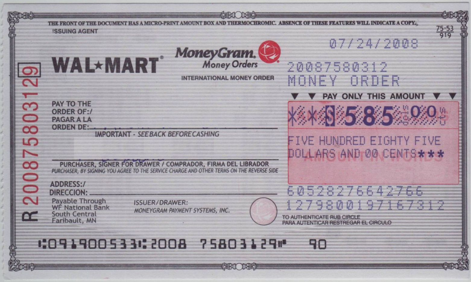 Get Our Example Of Moneygram Receipt Template Fake Money Money Template Money Order