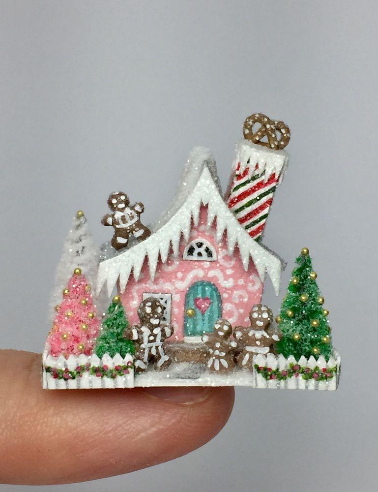 Ooak Miniature Dollhouse Christmas Putz Gingerbread Cottage House Ebay Dollhouse Christmas Miniature Christmas Doll House