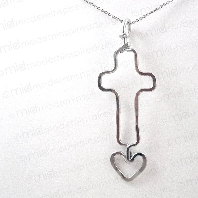 Wire Wrapped Cross Pendant with Heart - Cross Necklace - Christian ...