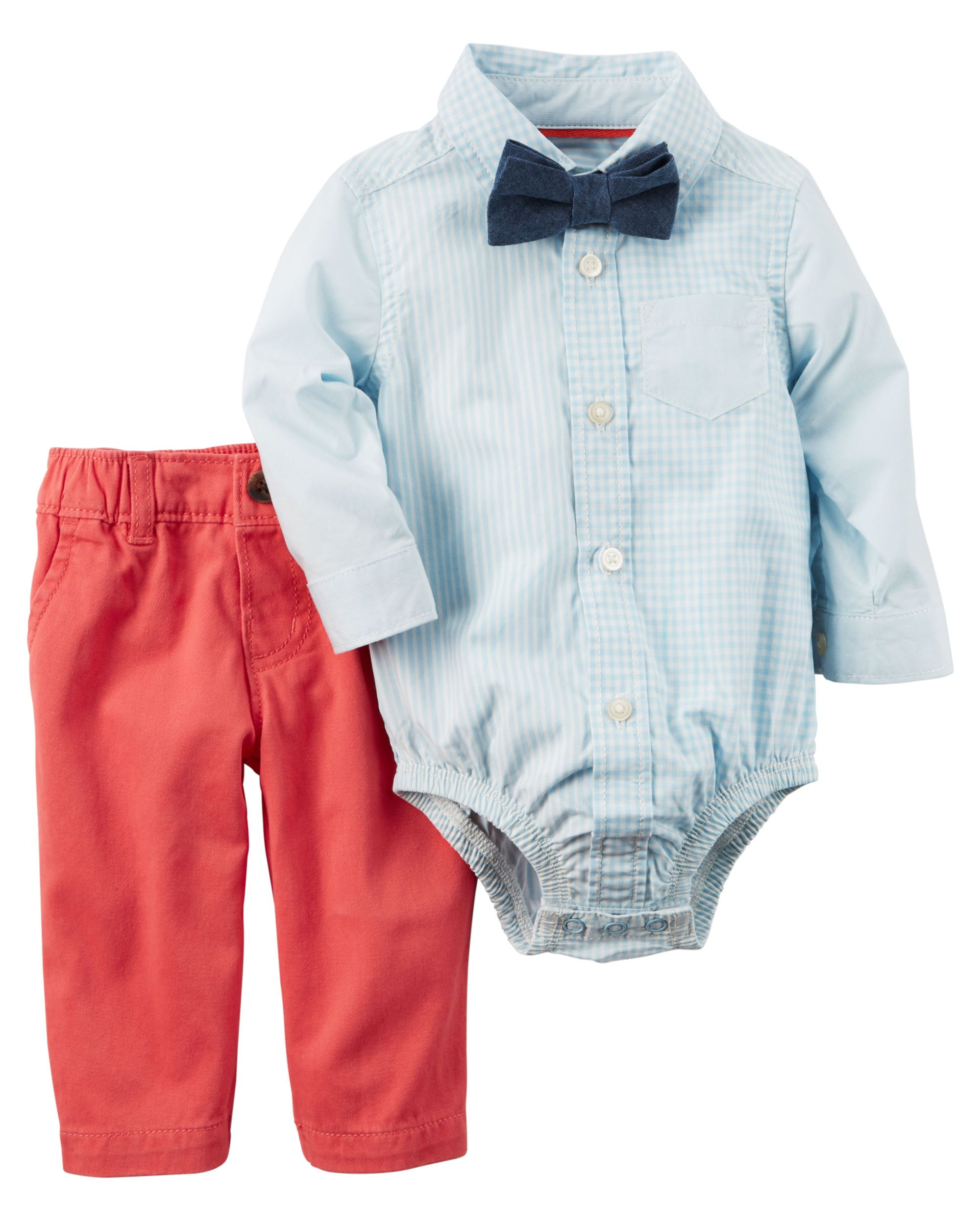 c32f16cd896d Baby Boy 3-Piece Button-Front Bodysuit & Twill Pant Set | Carter's OshKosh  Canada