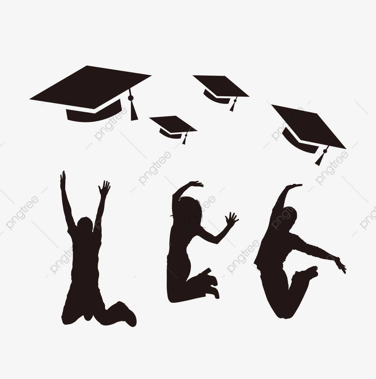 Youth Campus Jumping Silhouette Graduation Season Textbook Jumping Clipart Bachelor Cap Bachelor Gown Png And Vector With Transparent Background For Free Dow City Silhouette Student Cartoon Tree Silhouette