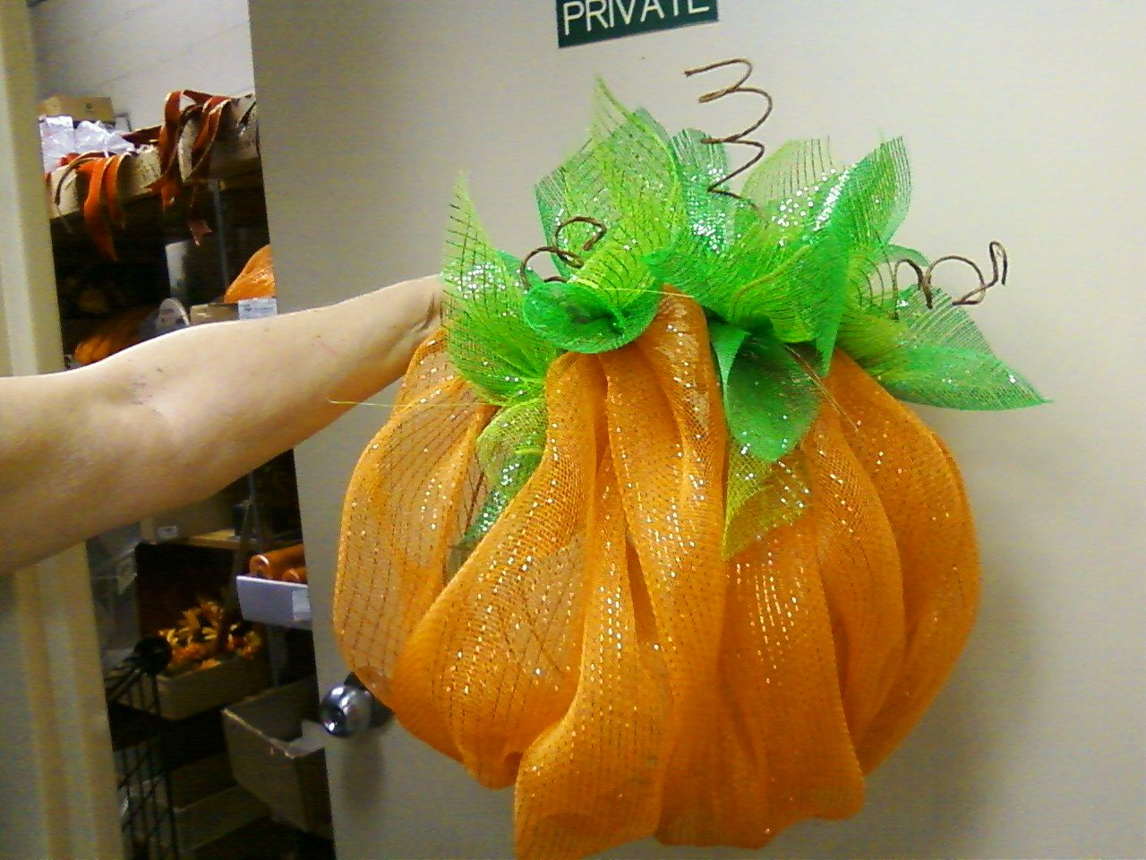 This is my new pumpkin wreath I am making for this fall.  It is really authentic of a pumpkin and can make one in different sizes to suit your taste.  Small pumpkins are $25 and large ones are $35.00