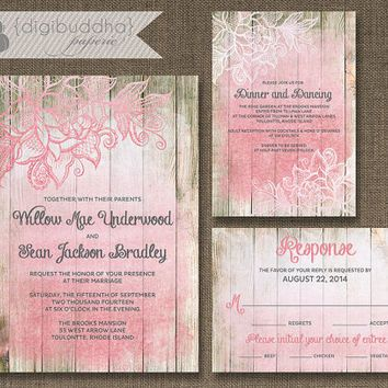 Blush Pink Ombre Wood Wedding Invitation 3 Piece Suite Reception Response RSVP Shabby Chic Beach Floral