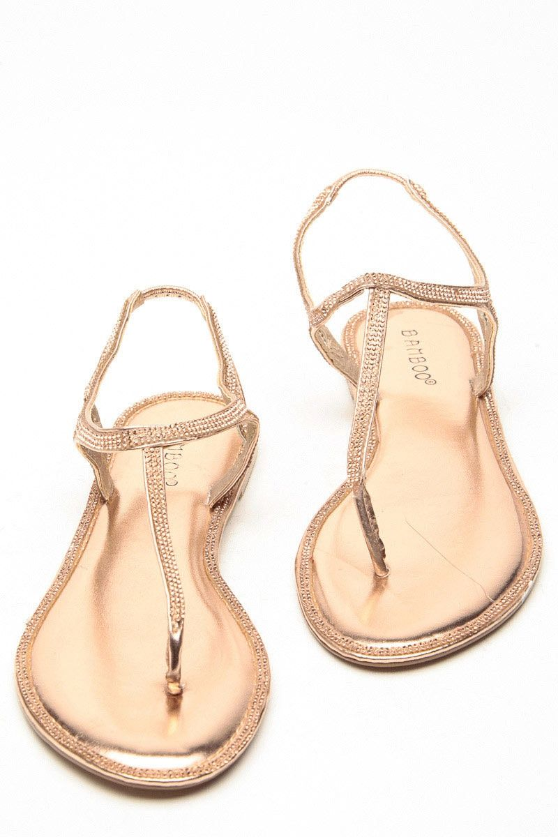 8911c8f664f Bamboo Rhinstone Decour Rose Gold Sandals   Cicihot Sandals Shoes online  store sale Sandals
