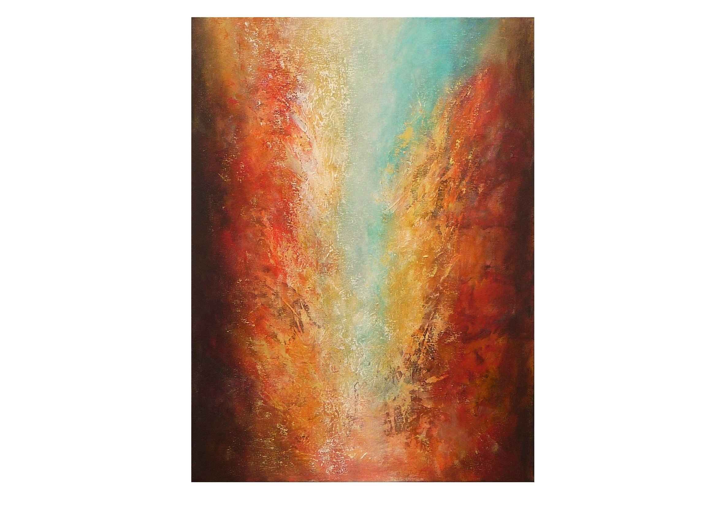 Tableau Moderne Vertical Tableau Abstrait Vertical Orange Rouge Jaune Bleu Original Texture