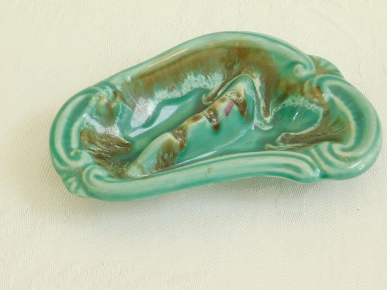 Alligator Crocodile old ceramic soap dish ashtray coin tray vintage Japanese