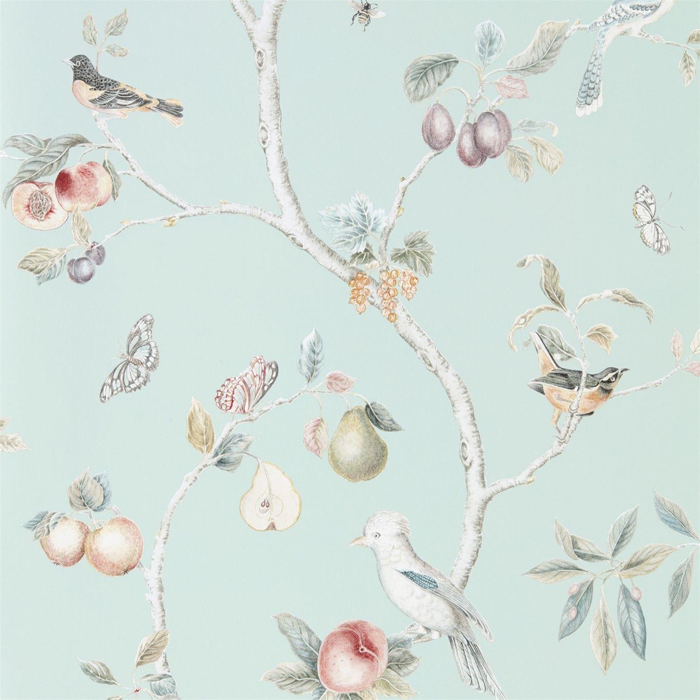 Fruit Aviary Wallpaper Bureaubladachtergronden Behang Patroon Behang