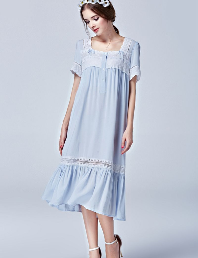 de4cefe676 Find More Dresses Information about 2016 Summer New Women Light Blue  Nightgown Long Elegant night dress Bow viscose home dress Mid calf sleepwear  Free ...