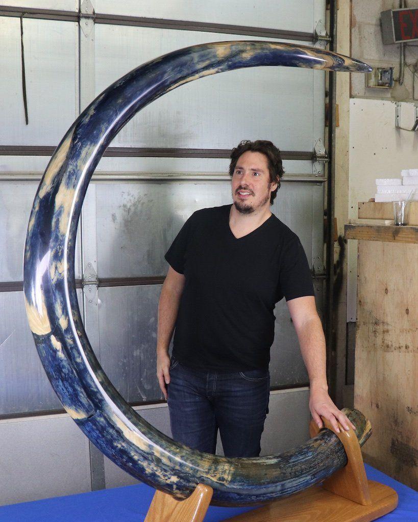 Magnificent Blue Mammoth Tusk - Alaska - 9 75 feet, 119 lbs