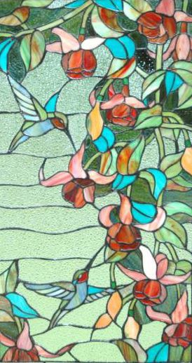 stained glass with humming birds