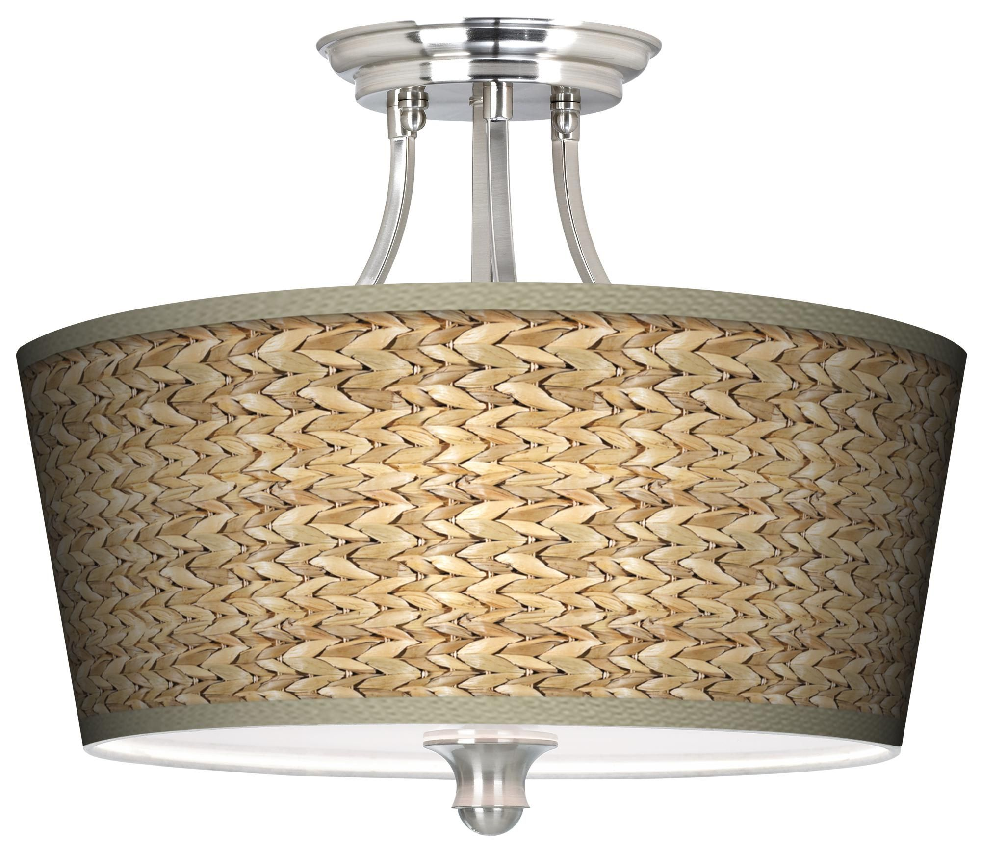 "Beach Lighting Products: Seagrass Print Pattern Tapered Shade 18"" Wide Ceiling"
