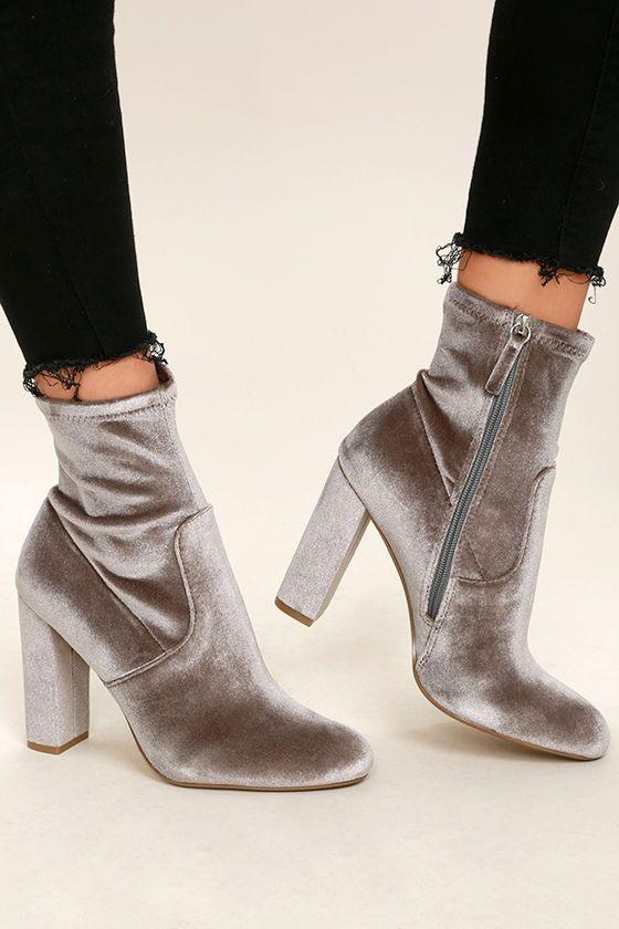 1b14534a9d7 Steve Madden Edit Grey Velvet High Heel Mid-Calf Boots | Fashion ...