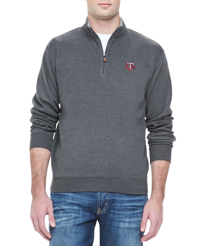 Gameday Texas A&M 1/4-Zip Fleece Pullover, Men's, Size: XX-LARGE, Grey - Peter Millar
