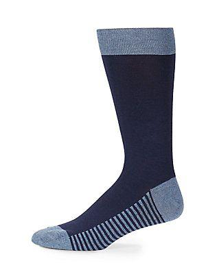 Saks Fifth Avenue Classic Cotton Blend Socks - Blue - Size No Size