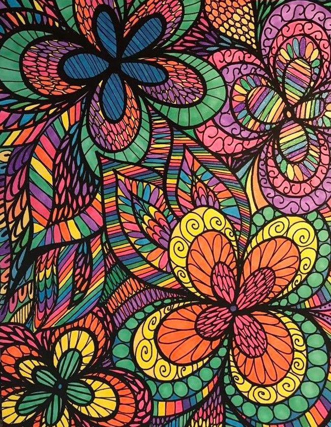 ColorIt Colorful Flowers Colorist Amanda Conard Adultcoloring Coloringforadults Adultcoloringpages